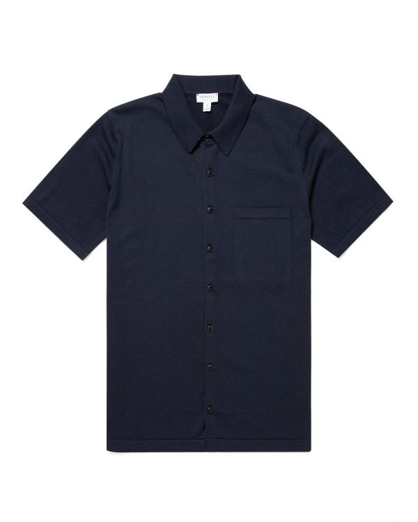 Men's Sea Island Cotton Knit Short Sleeve Shirt in Light Navy