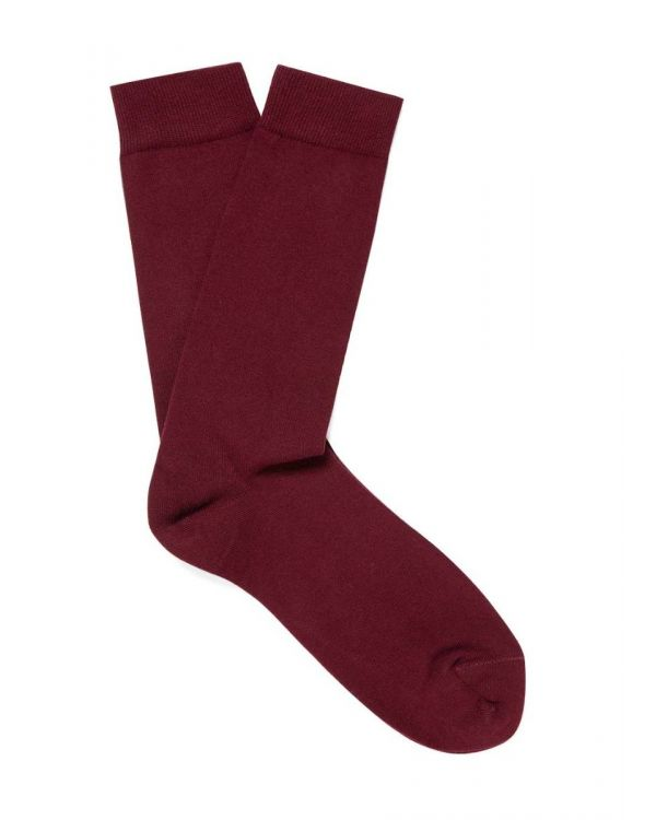 Men's Long Staple Cotton Socks in Merlot