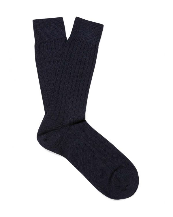 Men's Merino Wool Rib Socks in Navy