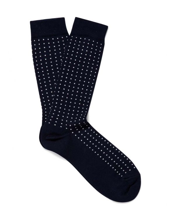 Men's Long Staple Cotton Pinpoint Socks in Navy/White