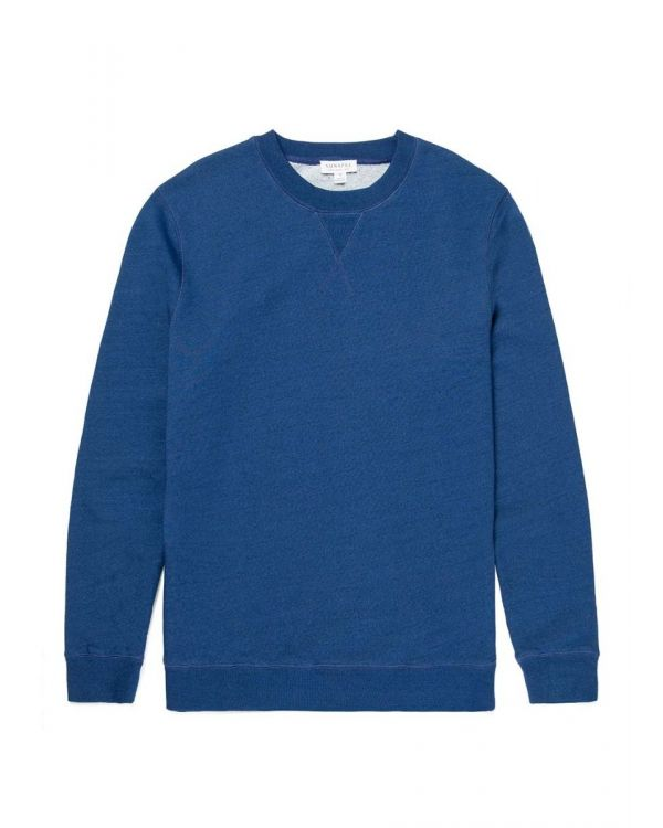 Men's Indigo Dyed Cotton Loopback Sweatshirt in Real Indigo