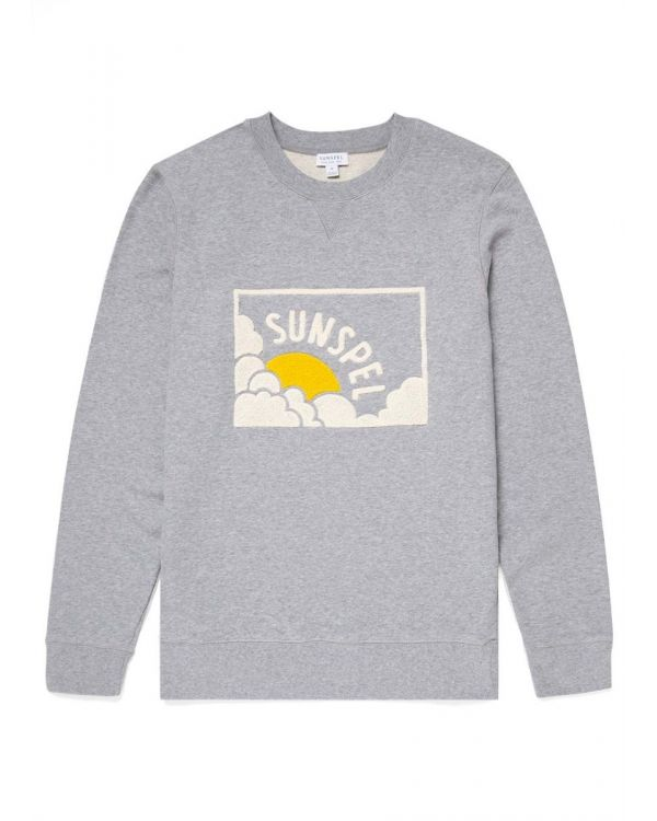 Men's Cotton Loopback Sun & Cloud Sweatshirt in Grey Melange