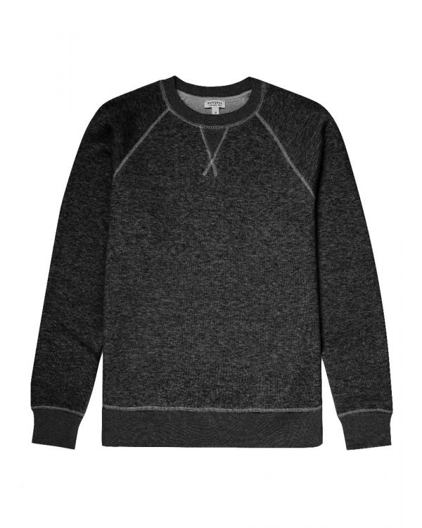 Men's Japanese Loopwheel Raglan Sweatshirt in Charcoal Melange