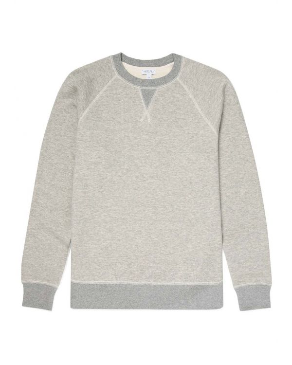 Men's Japanese Loopwheel Raglan Sweatshirt in Mid Grey Melange
