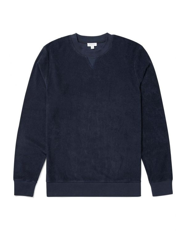 Men's Organic Cotton Towelling Sweatshirt in Navy