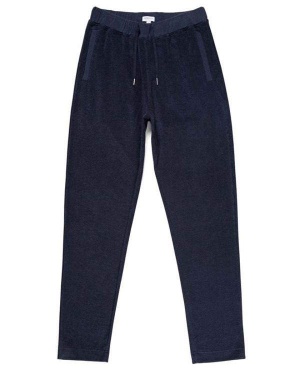 Men's Organic Cotton Towelling Track Pant in Navy