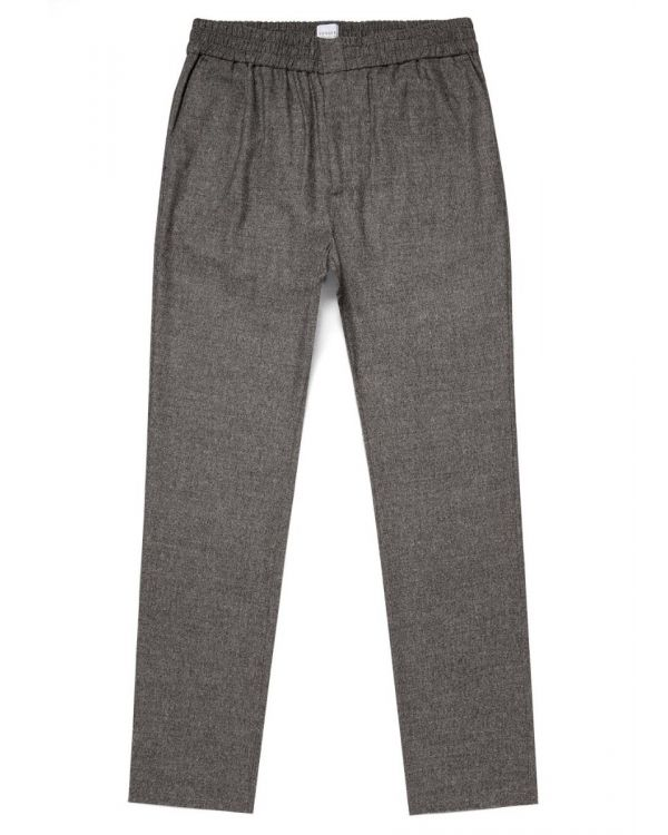Men's Wool Cashmere Flannel Drawstring Trouser in Grey Puppy Tooth