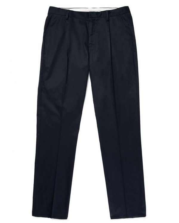 Men's Sea Island Cotton Twill Pleated Trouser in Navy