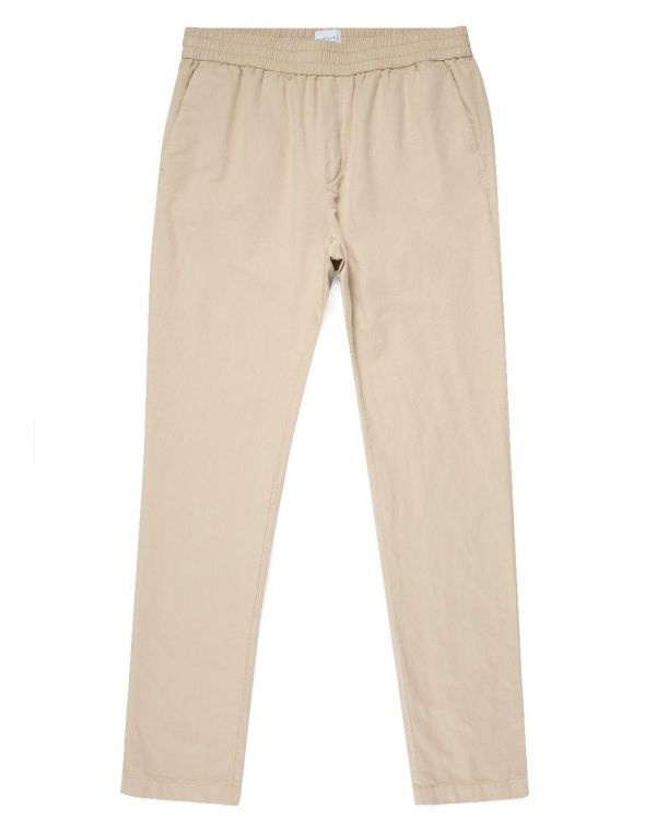 Men's Cotton Linen Drawstring Trouser in Light Stone