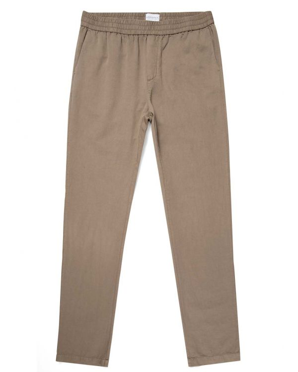 Men's Cotton Linen Drawstring Trouser in Dark Stone
