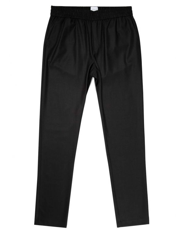 Men's Travel Wool Drawstring Trouser in Black