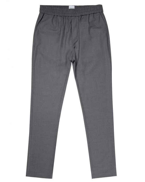 Men's Travel Wool Drawstring Trouser in Mid Grey Melange