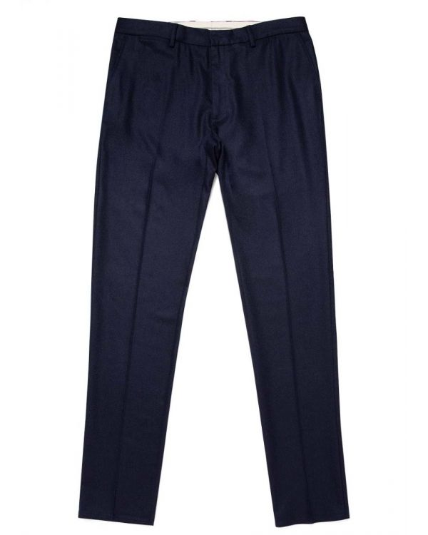 Men's Wool Cashmere Flannel Slim Fit Trouser in Navy
