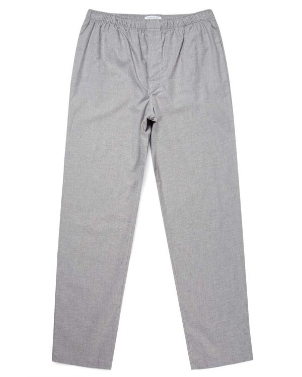 Men's Cotton Pyjama Bottoms in Mid Grey Melange