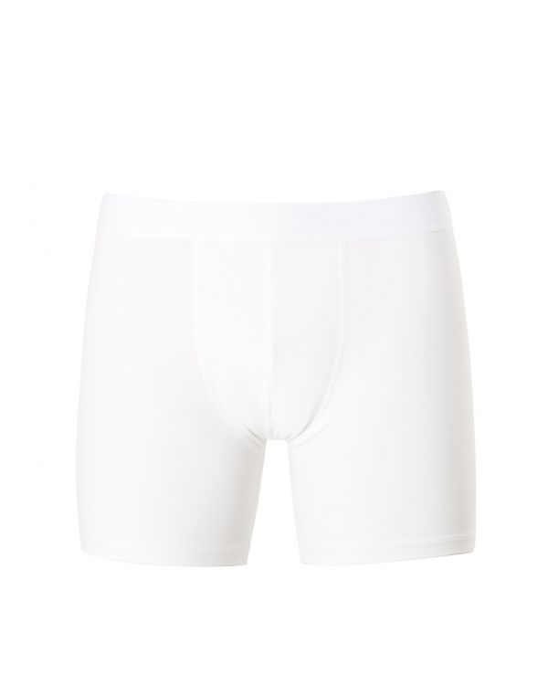 Men's Long Leg Stretch Cotton Trunks in White