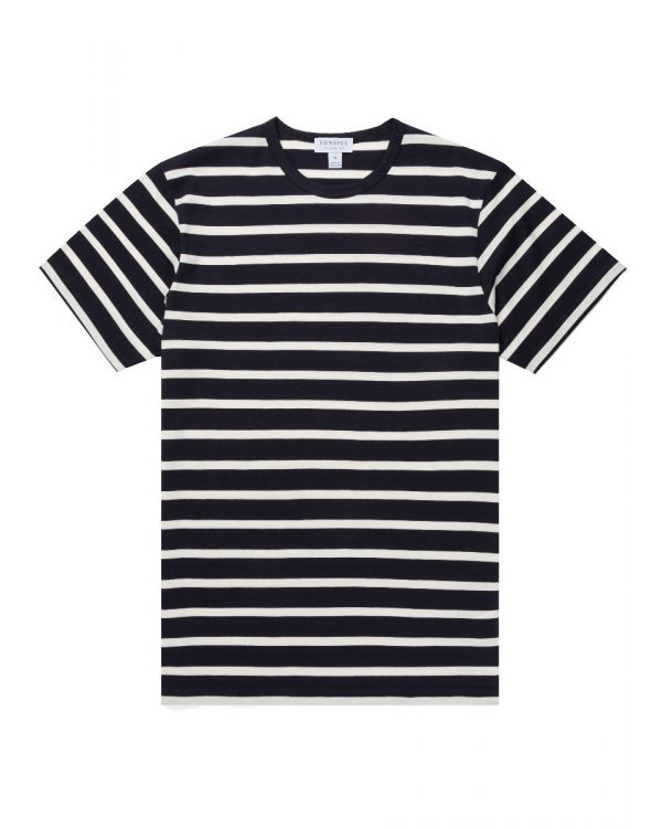 Men's Classic Cotton Breton Stripe T-Shirt in Navy/Ecru