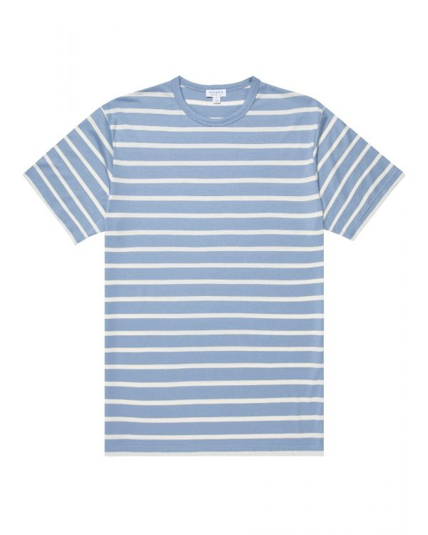 Men's Classic Cotton Breton Stripe T-Shirt in Washed Denim/Ecru