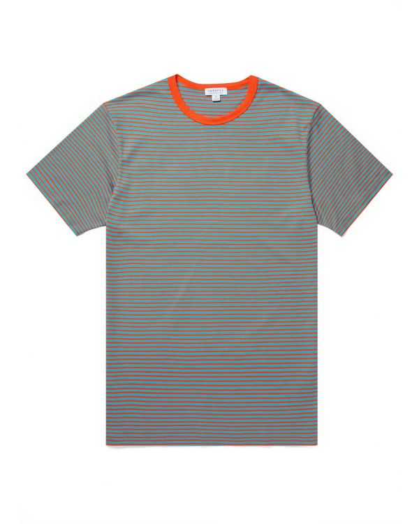 Men's Classic Cotton T-Shirt in Booth Red/Cyan English Stripe