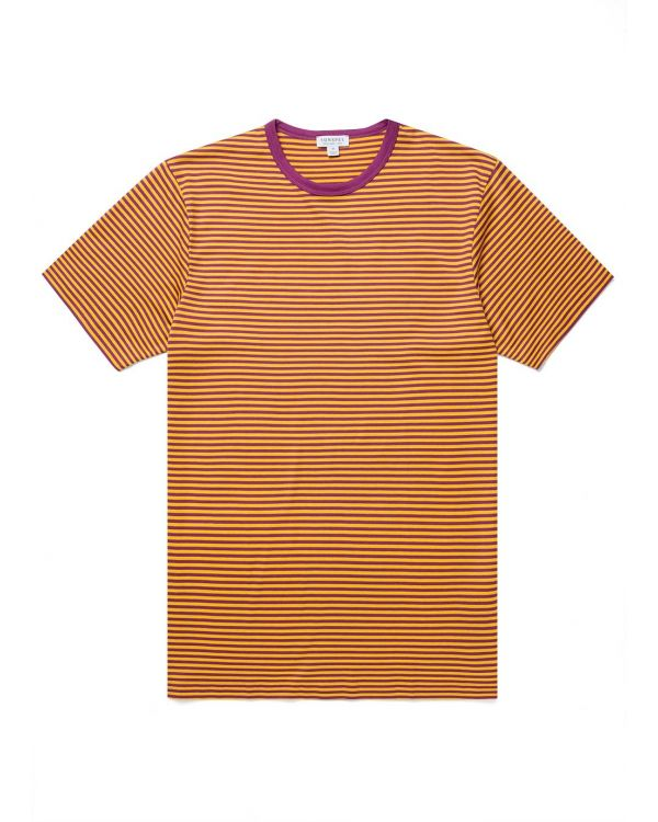 Men's Classic Cotton T-Shirt in Booth Purple/Ochre English Stripe