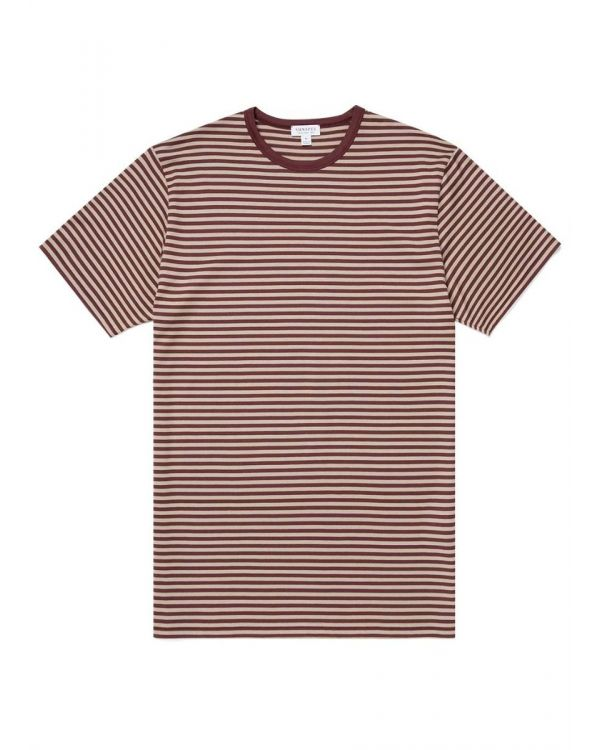Men's Classic Cotton T-Shirt in Merlot/Taupe English Stripe