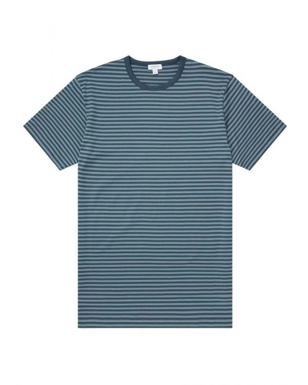 Men's Classic Cotton T-Shirt in Dark Petrol/Dove Grey English Stripe