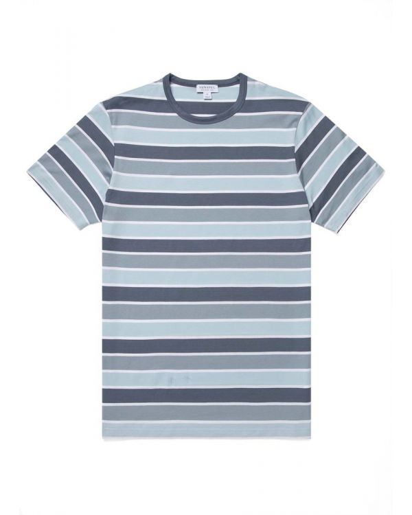 Men's Classic Cotton Bold Stripe T-Shirt in Blue Slate/Blue Steel