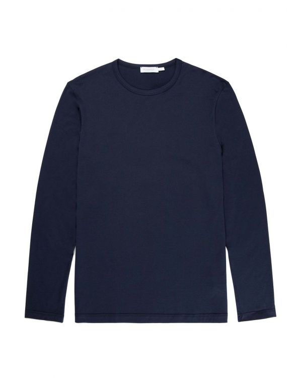 Men's Cotton Long Sleeve T-Shirt in Navy