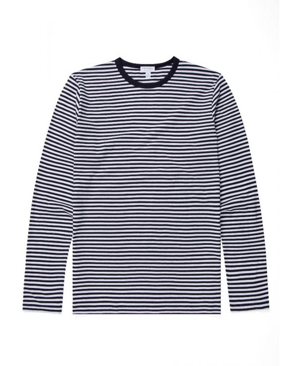 Men's Cotton Long Sleeve T-Shirt in Navy/White English Stripe