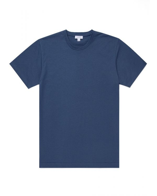 Men's Organic Cotton Riviera T-Shirt in Smoke Blue Melange