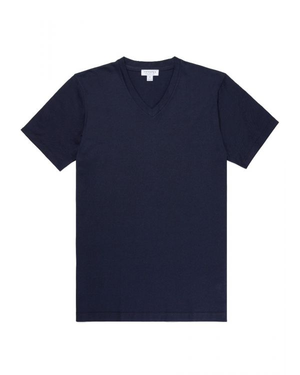 Men's Cotton V-Neck Riviera T-Shirt in Navy