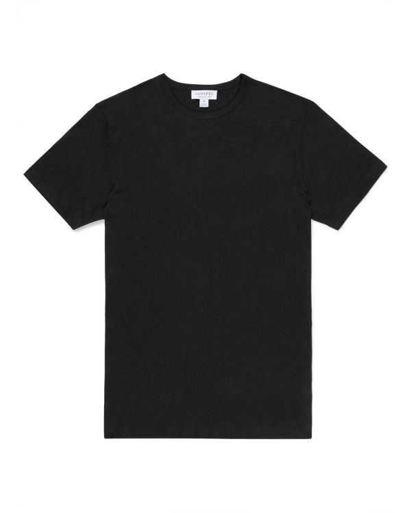 Men's Sea Island Cotton T-Shirt in Black
