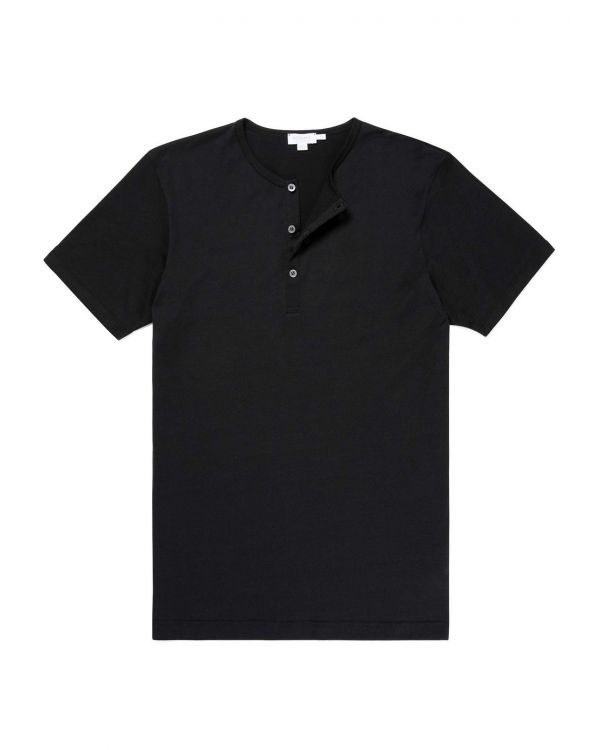 Men's Cotton Henley T-Shirt in Black