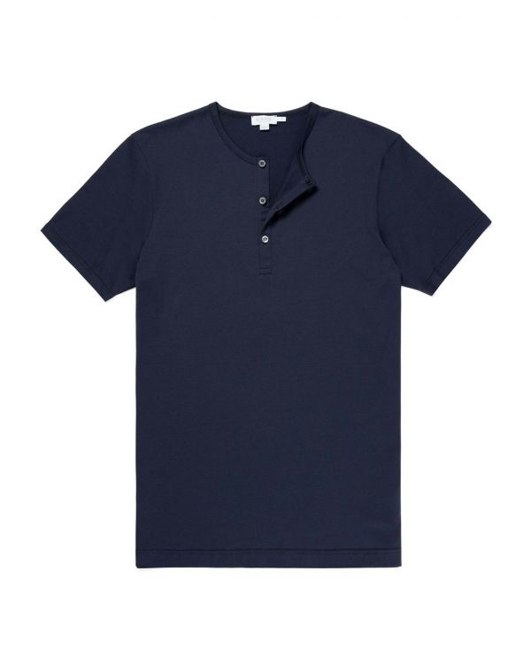 Men's Cotton Henley T-Shirt in Navy