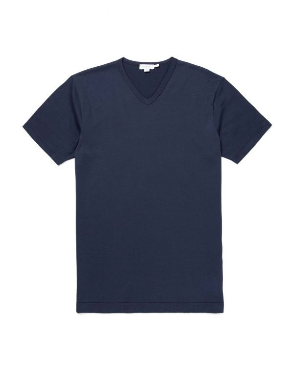 Men's Classic Cotton V-Neck T-Shirt in Navy