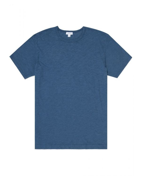 Men's Pima Cotton Linen T-Shirt in Smoke Blue