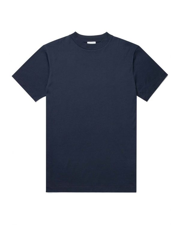 Men's Cotton Mock Neck T-Shirt in Navy