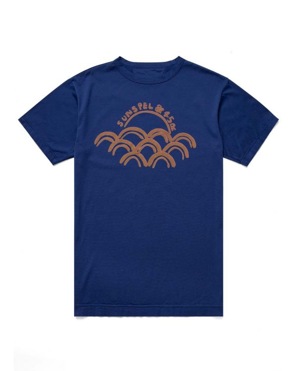 45R and Sunspel Men's Cotton Sun & Wave Print T-Shirt in Navy