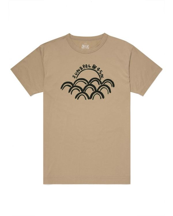 45R and Sunspel Men's Cotton Sun & Wave Print T-Shirt in Beige