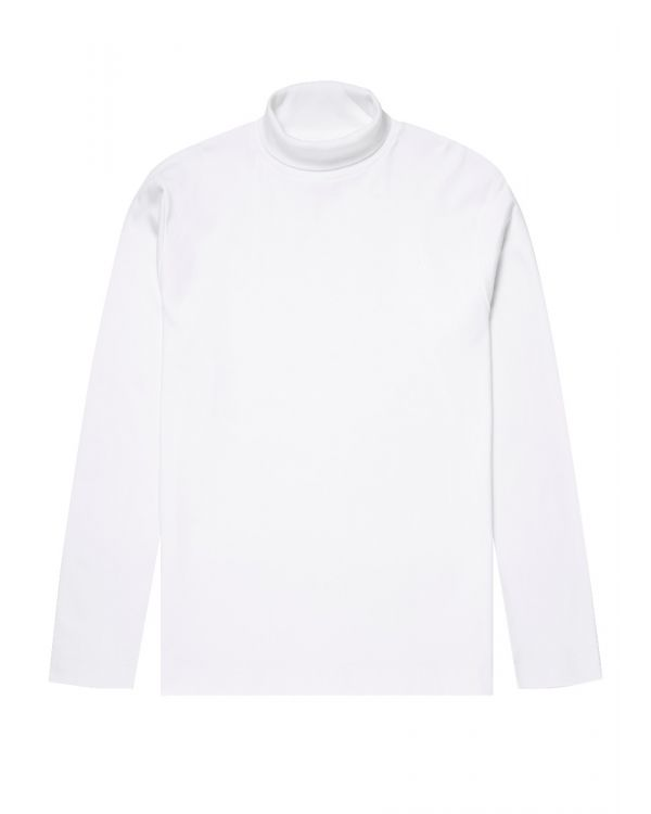 Men's Brushed Cotton Long Sleeve Turtle Neck in White