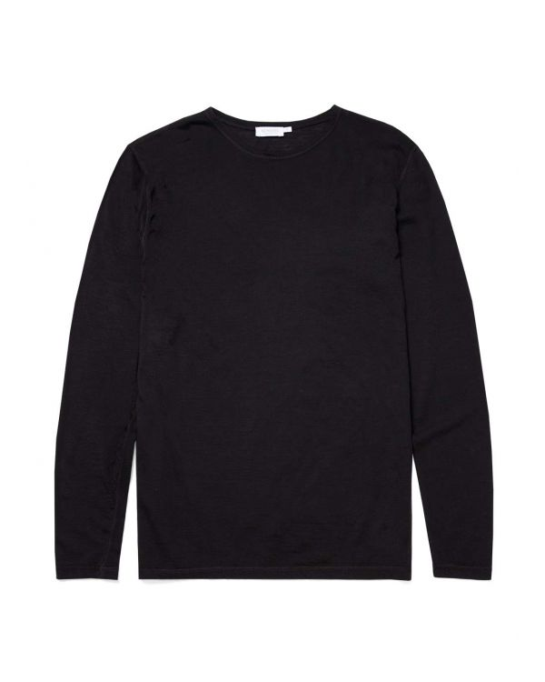 Men's Superfine Wool Long Sleeve Base Layer in Black