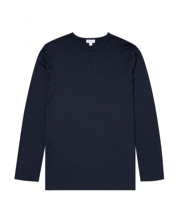 Men's Cotton Modal Long Sleeve Lounge T-Shirt in Navy