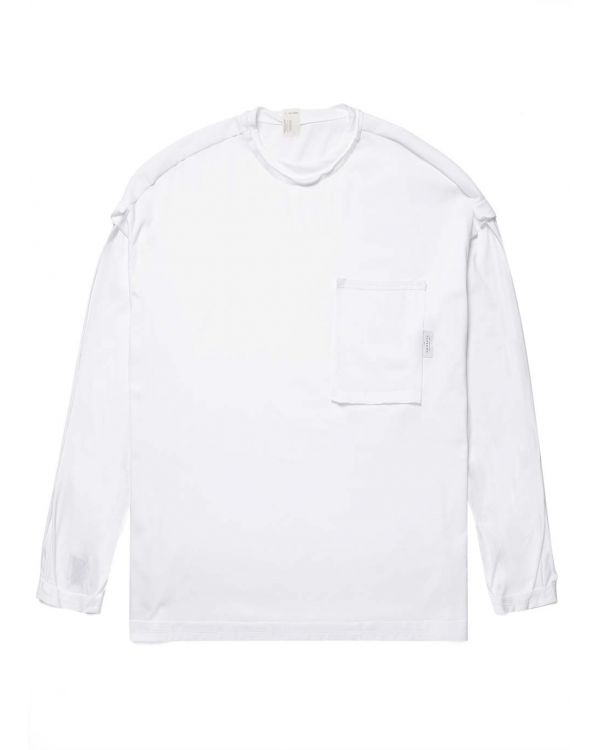 N. Hoolywood and Sunspel Men's Cotton Long Sleeve Reversible T-Shirt in White