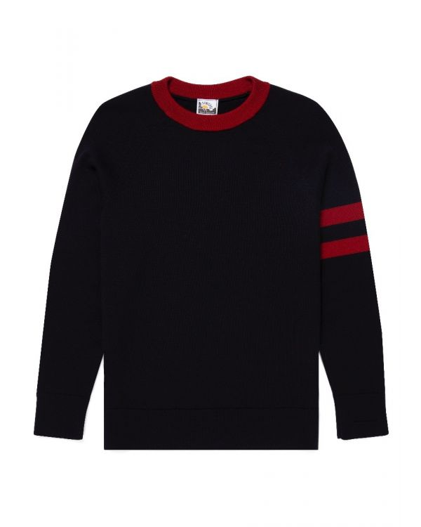 Paul Weller for Sunspel Men's Merino College Jumper in Navy/Raspberry