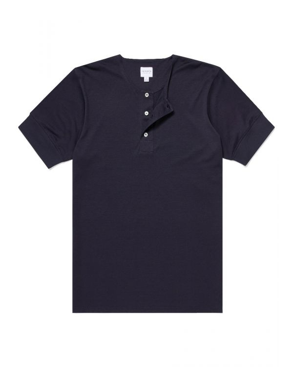 Paul Weller for Sunspel Men's Cotton Henley T-Shirt in Navy