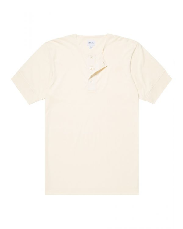 Paul Weller for Sunspel Men's Cotton Henley T-Shirt in Ecru