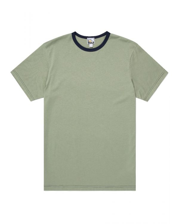 Paul Weller for Sunspel Men's Cotton T-Shirt in Avocado/Navy Contrast