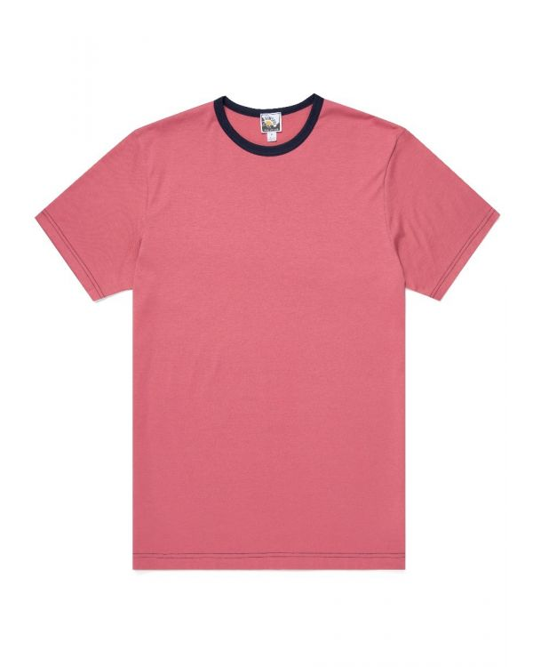 Paul Weller for Sunspel Men's Cotton T-Shirt in Raspberry/Navy Contrast