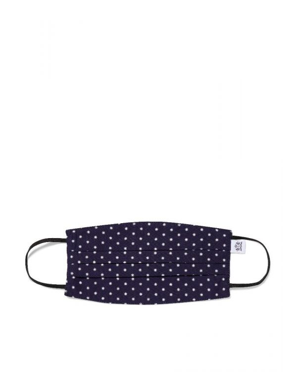 Sunspel Cotton Face Mask in Navy/White Micro Star