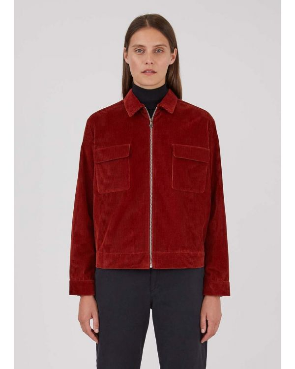 Women's Wide Wale Corduroy Zip Jacket in Brick