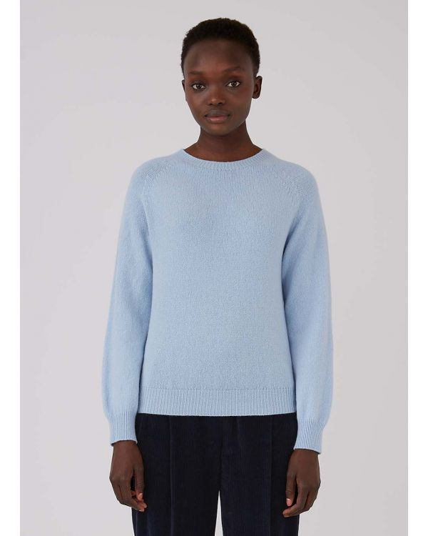 Women's Lambswool Crew Neck Jumper in Blue Jeans